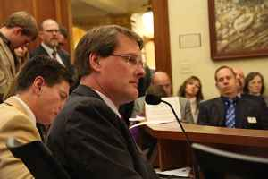 """Rep. Harlan Edmonds listen to amendments of SF 115 during debate on Friday. He was later ejected from the meeting for saying Friday that he wanted a bill prohibiting discrimination against gay and transgender workers to become law """"when hell freezes over."""" (Gregory Nickerson/WyoFile"""