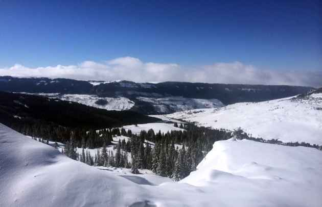 The top of Antelope Butte offers great views and the descent provided great snow in February. A nonprofit is trying to reopen the ski area near Sheridan and Greybull, which closed in 2004. (Kelsey Dayton/WyoFile)
