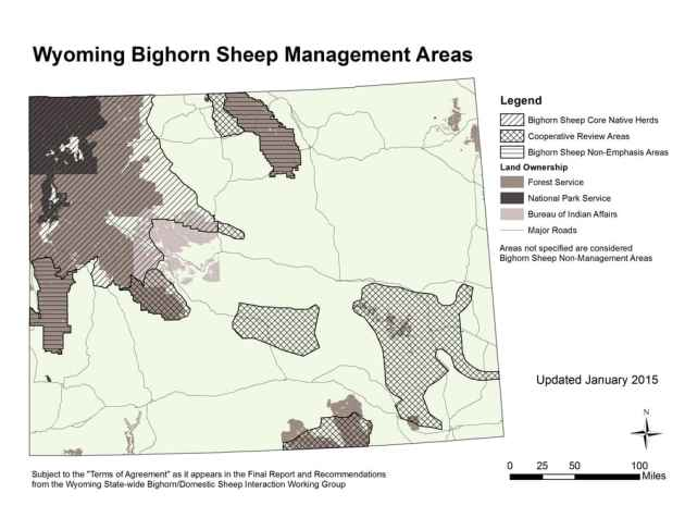 """Wyoming's bighorn sheep plan divides the state into areas where core native herds of bighorns live, where """"cooperative review"""" with domestic sheep grazers would allow bighorns to thrive, and where bighorn populations are not emphasized. (Wyoming Game and Fish Department)"""