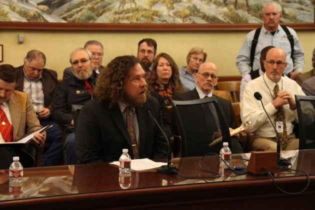 University of Wyoming Faculty Senate President Edward Janak testifies at a hearing during the 2015 Legislature. (Gregory Nickerson/WyoFile)