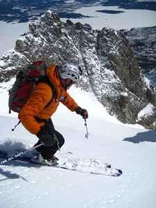 Steve Romeo skis down Drizzlepus on Mount Moran in Grand Teton National Park. (courtesy TetonAT)