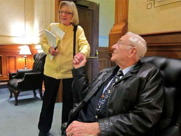 """In recent sessions Rep. Patton and Casper Star-Tribune reporter Joan Barron were the only two alumni of the 1971 session still active in the Capitol. She covered her first Legislative session in 1971, when Patton helped oversee the creation of the Legislative Service Office. She retired in 2014 at age 85, while Patton was 84 in the 2015 session. Patton called Barron a """"constructive"""" reporter and a """"great observer."""" """"If you read what she wrote, you'd come to understand there is a right and a wrong way to do things,"""" he said. """"She was willing to point that out and did."""" (Gregory Nickerson/WyoFile)"""