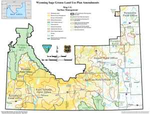 This map outlines BLM and Forest Service priority habitat in red. Priority habitat will get the most attention for greater sage grouse conservation in six BLM districts and three national forest units in Wyoming. (BLM)