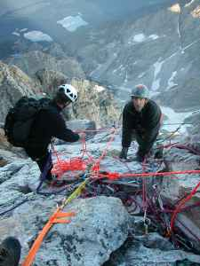 Rangers take part in a rescue on the Grand Teton in 2003. More incidents occur on the Grand than any other peak in the park because it is the most popular climb in the area. (courtesy Grand Teton National Park)