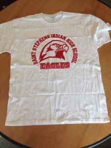 The T-shirt worn by the students from St. Stephens Indian High School. (courtesy Cheryl Meyers)
