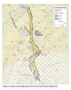 """Anadarko owns much of the white private property shown in the """"checkerboard"""" on the south reaches of the mule deer migration route that """"Jet"""" travels. (Wyoming Migration Initiative)"""
