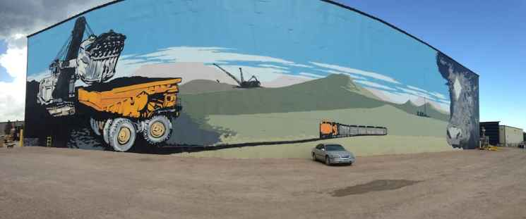 A mine mural in Gillette, Wyoming. Pensions for Wyoming miners could be at risk if mining companies declare bankruptcy or sell to another company. (Dustin Bleizeffer/WyoFile)