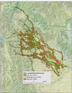 high use mule deer migration route