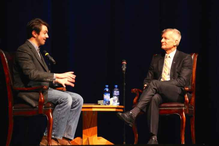 """Haefner spoke at a student forum moderated by Associated Students of UW president Brian Schueler. Haefner grew up in Iowa as a self-described """"nerdy"""" Star-Trek fan who read James Joyce. His father was a professor of English at the University of Iowa. (WyoFile/Gregory Nickerson)"""