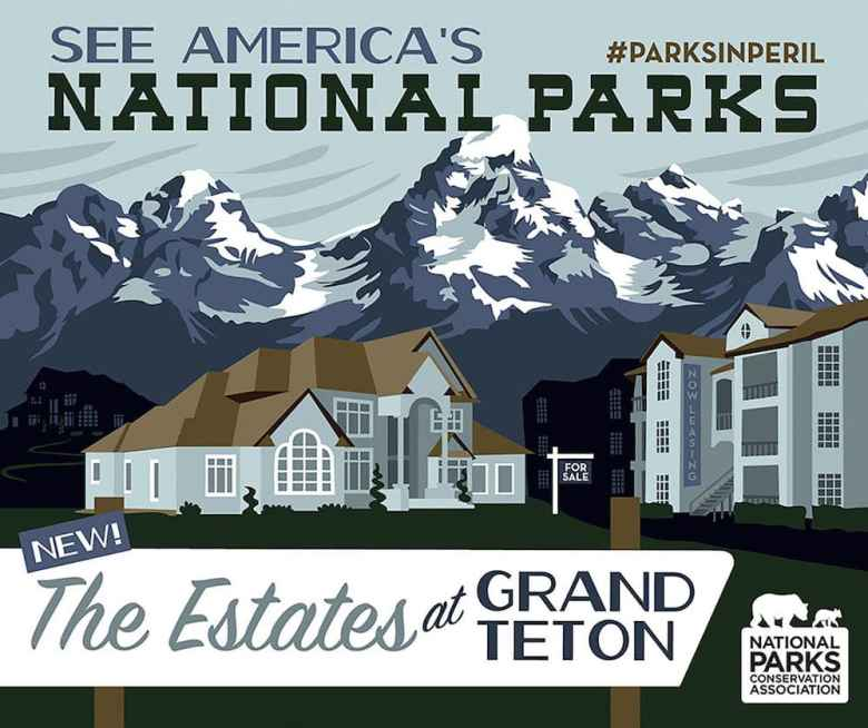 National Parks Conservation Association created this logo to draw attention to threats to national parks, including Grand Teton National Park, where the state could sell 1,280 acres. A bill in the Wyoming Legislature would set terms for the sale to the federal government. (National Parks Conservation Association)