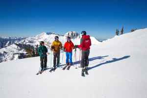 Instructor Ann Schorling talks to adult students before skiing at Jackson Hole Mountain Resort. Ski lessons aren't just for beginners, or kids. (Courtesy Jackson Hole Mountain Resort)