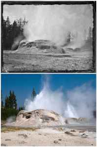 TOP Tuesday, Aug. 8, 1871 No. 298. THE GROTTO IN ERUPTION, throwing an immense body of water, but not more than forty feet in height. The great amount of steam given off almost entirely conceals the jets of water. (William Henry Jackson) BOTTOM The eruptions of Grotto Geyser can last anywhere from one to 24 hours and can splash water more than 40 feet high. The length of Grotto's eruption will often determine the duration of the nearby Rocket Geyser, seen here in eruption with the Grotto. (Bradly J. Boner)