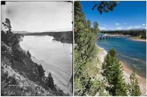 LEFT: Wednesday, Aug. 2, 1871 No. 266. YELLOWSTONE RIVER where it leaves the lake, looking down from the same stand point as the following. (William Henry Jackson) RIGHT Fishing Bridge now spans the Yellowstone River just north of where it exits Yellowstone Lake, and trees and other vegetation line the steep west riverbank in the foreground. The 10,760-foot summit of Cathedral Peak, which sits on the boundary of Yellowstone National Park and the North Absaroka Wilderness, is on the horizon at far right. (Bradly J. Boner)