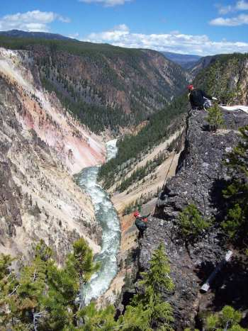 Park Rangers Phil Strehle, Klint Powell and Sara Robinson put their technical rope rescue skills to the test in the Grand Canyon of the Yellowstone (Phil Strehle)