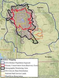 The Yellowstone ecosystem bear management boundaries start in the interior where most protection is afforded in Yellowstone and Grand Teton national parks (yellow). In the red Primary Conservation Area, grizzly mothers with cubs must be seen in 18 sub-units on a regular basis. The black-lined Demographic Monitoring Area is where bears will be officially counted. today, grizzlies occupy the cross-hatched zone and more than 3,000 acres of it lie outside the DMA where there Wyoming says there will be little tolerance for conflict areas. The largest blue line defines the distinct population segment where federal protections would be removed. (Wyoming Game and Fish Department)