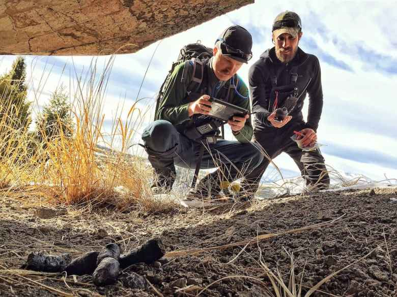 Yellowstone Cougar Project field technicians Aaron Morris (left) and Marcus Bianco (right) record data using a GPS unit and iPad data logger before collecting a portion of cougar scat for DNA analyses. (Photo by Daniel Stahler/NPS)