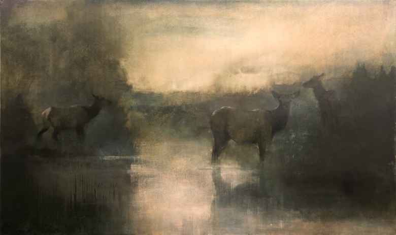 """Kathryn Mapes Turner (American, b.1971) """"Three Matriarchs,"""" 2015. Oil on Canvas. 36 x 60 inches. © Kathryn Mapes Turner. (Courtesy of National Museum of Wildlife Art.)"""