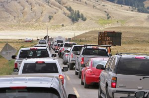 Vehicles wait near the North Entrance of Yellowstone in July 2015. (Photo courtesy Jim Peaco.)