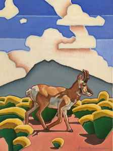 Painting of an pronghorn antelope titled True Colors of the West by Lucas Anderson