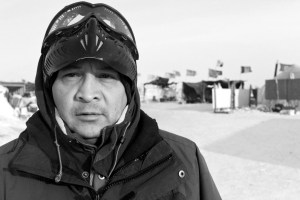 Shoshone Josh Ute is a former Marine who said racism has followed him his whole life. He wants to take his camp experience back to the Wind River Indian Reservation in hopes of spurring action among fellow tribal members on issues facing Wind River tribes. (Angus M. Thuermer Jr./WyoFile)