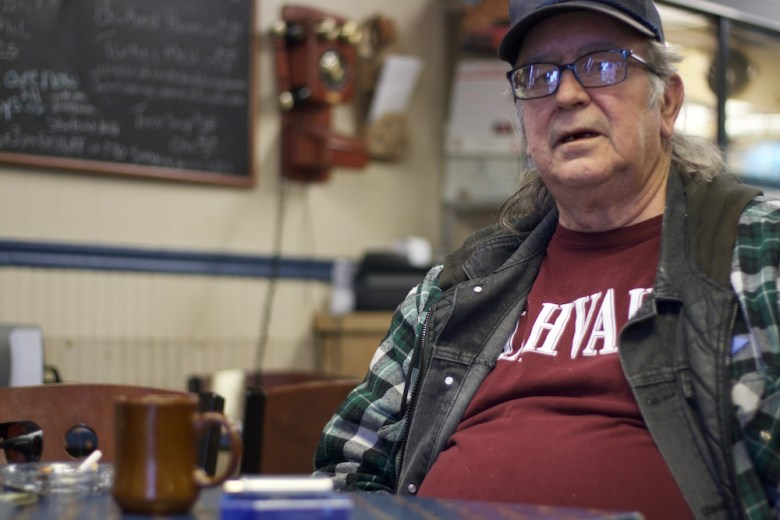 Duffy Jenniges, an ex-railroad worker, is known as Lula Belle's resident Democrat. He thinks Gillette will be disappointed when jobs don't suddenly appear after President-elect Trump's inauguration. (Andrew Graham/WyoFile)
