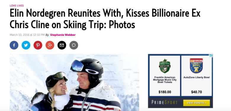 Cline and Nordegren attracted the attention of US Weekly, which published photographs from the AKM-GSI agency of the couple in St. Moritz, Switzerland, last March.