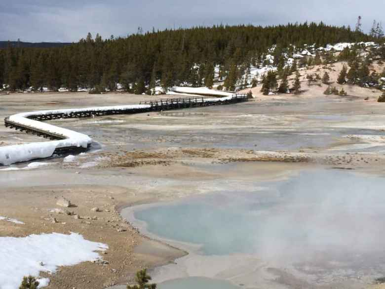 The boardwalk at Norris Geyser Basin is empty Feb. 16. Visitors experience a far quieter park in winter. (Kelsey Dayton/WyoFile)