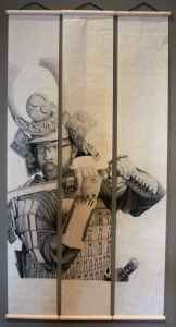 """Jacob Harkin's """"Self Portrait in Samurai Armor,"""" graphite on three rice paper panels, received the Lisa Lewis Dubois Student Exhibition Award. (Molly Bredehoft)"""