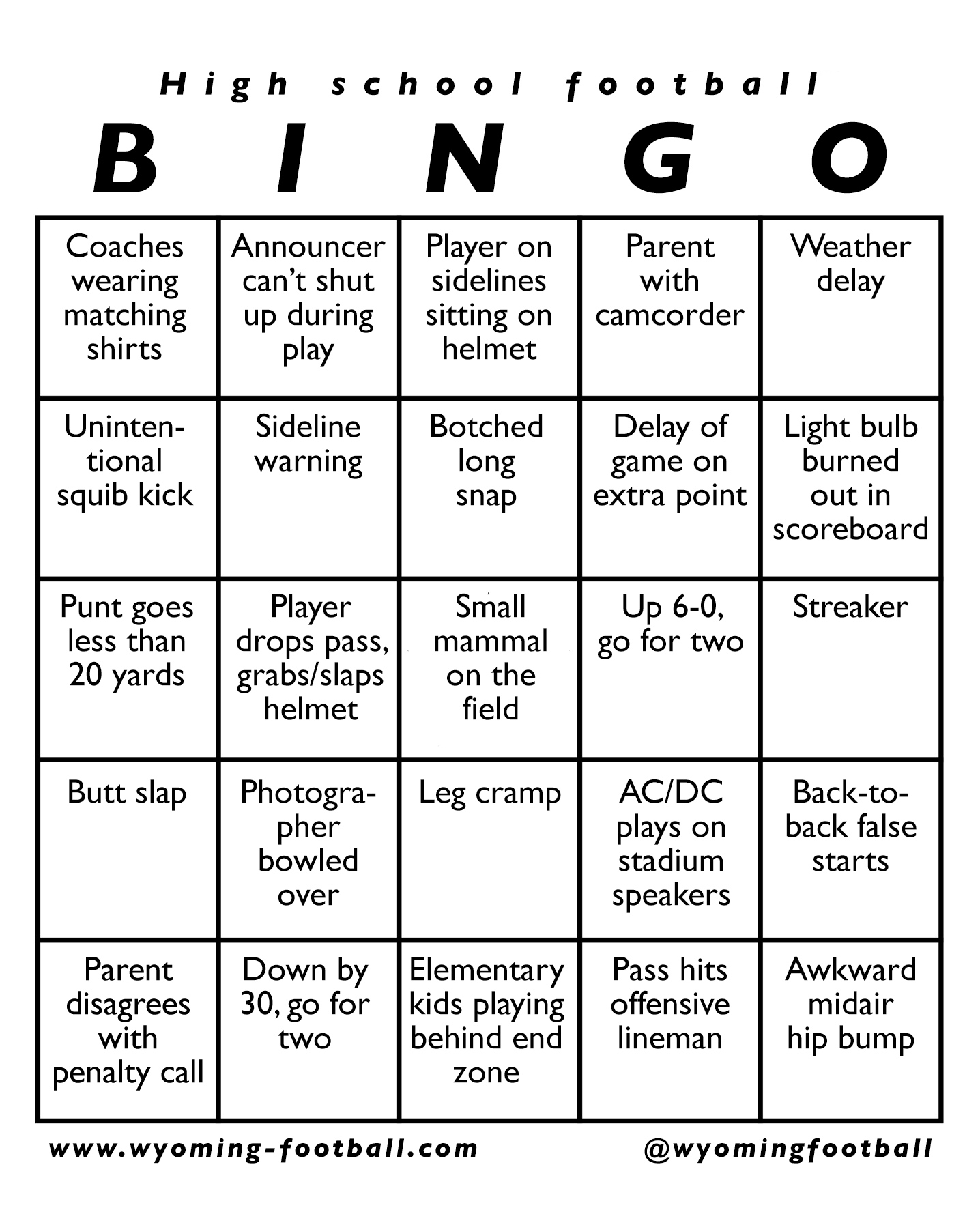 High School Football Bingo