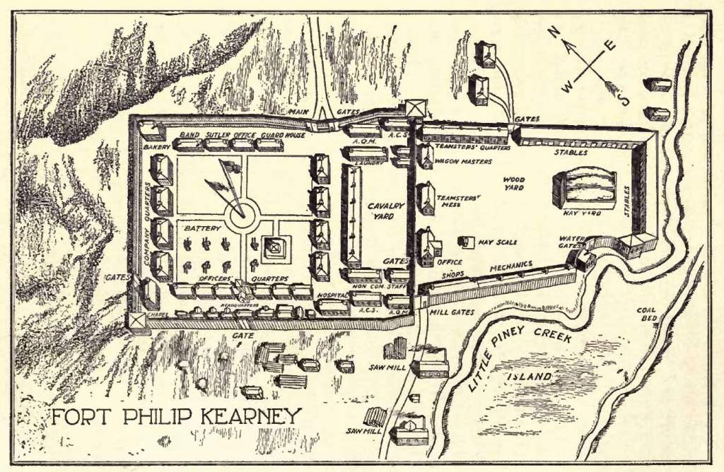 Plan of Fort Kearney from Indian Fights and Fighters (1904)
