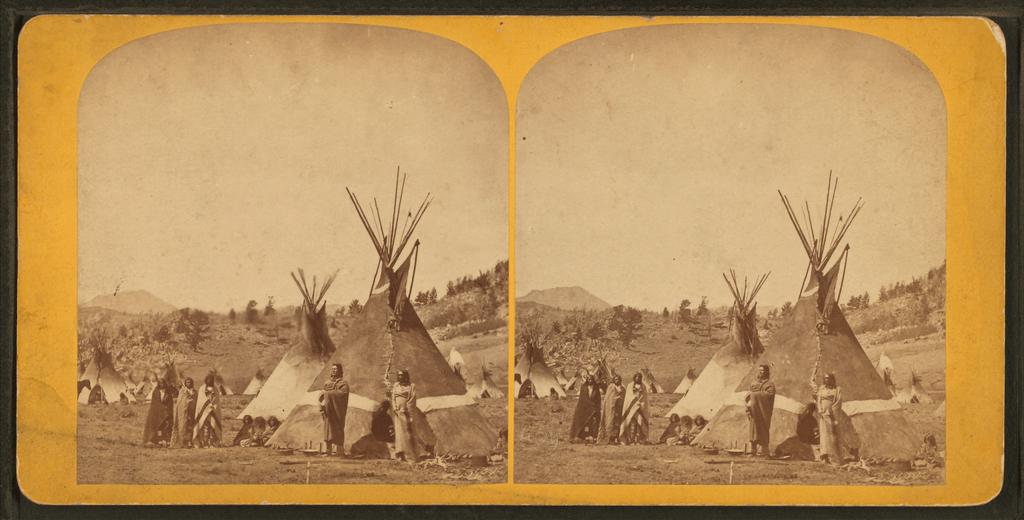 Fort Stambaugh, Wyoming near Sweetwater River, 1870; Shoshoni Chief Washakie's camp