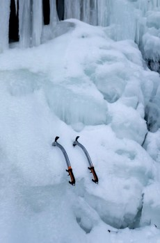 Wyoming Mountain Guides rents a full line of modern ice climbing tools and ice axes for your ice climbing and mountaineering adventures in northern Wyoming. Pictured here are the Petzl Quark ice tools.