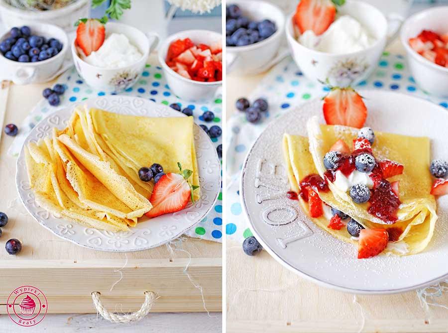 Przykładowe zdjęcie wykonane na kursie fotografii kulinarnej przedstawiające naleśniki z truskawkami, borówkami, bitą śmietaną i cukrem pudrem