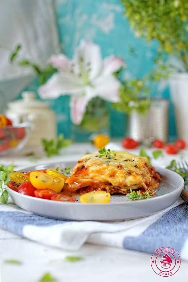 warzywna lazania z ziemniaków pod beszamelem