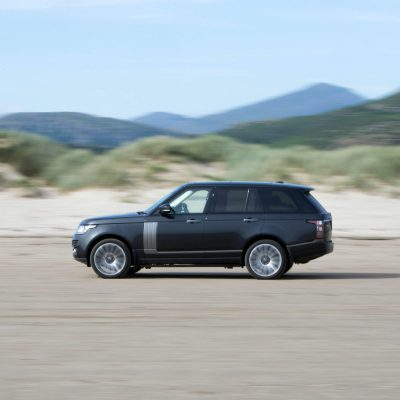 range rover driving on beach