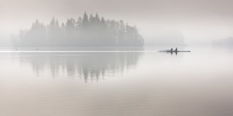 Scull boat in fog