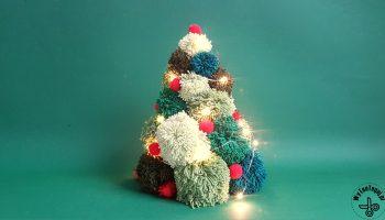 Pom pom Christmas tree with lights