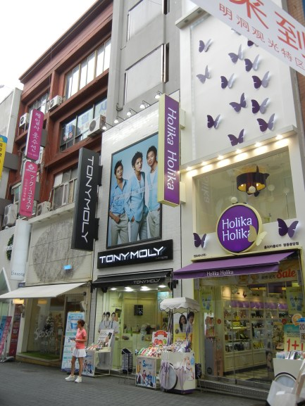 The famous fancy make-up stores of Myeongdong