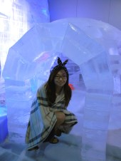 Walked into the igloo as much as I could in fear of slipping.