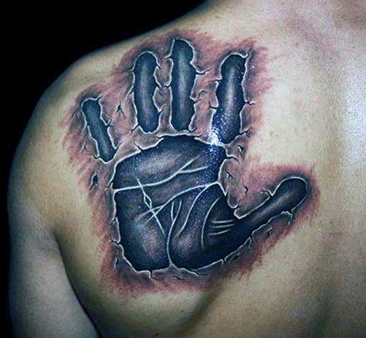 Tatuaże 3d Dłoń Na łopatce Blog Z Tatuażami