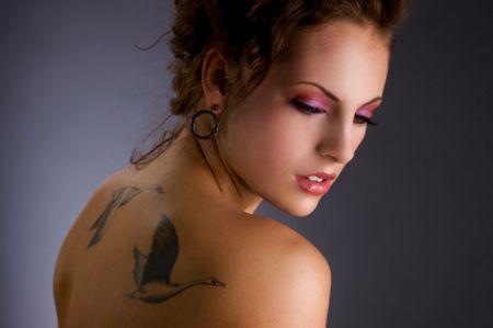 back birds girl tattoo
