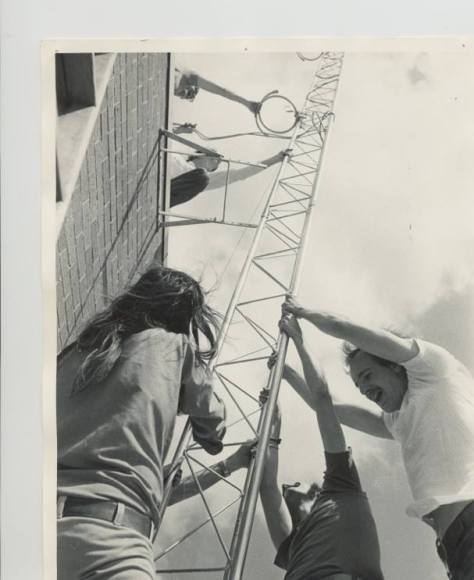 Founding Wizards securing the antenna in 1974.