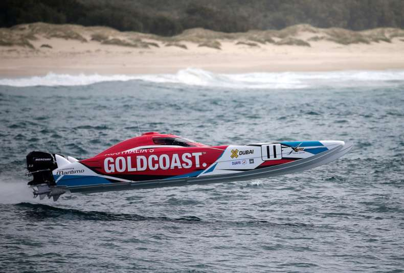 GOLD COAST, AUSTRALIA - AUGUST 22:  Tom Barry Cotter and Ross Willaton of Gold Coast. Australia compete in the race for Pole Position on day 1 of the Gold Coast GP - fourth round of the UIM XCAT World Series on August 22, 2015 in Gold Coast, Australia where 14 teams are competing. XCAT, short for extreme catamaran, is one of the most challenging and extreme forms of powerboat racing in the world. The XCAT World Series truly is a spectacle of speed, with teams of two taking each other on in two-engined carbon-fibre boats that tear around the course at speeds close to 200km per hour.  (Photo by Glenn Hunt/Getty Images for XCAT) *** Local Caption *** Tom Barry Cotter;Ross Willaton