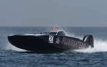 race for pole position during the Fujairah Grand Prix - the first round of the UIM XCAT World Series 2016 where 14 boats are competing. XCAT, short for extreme  catamaran, is one of the most challenging and extreme forms of powerboat racing in the world at Fujairah International Marine Sports Club on April 7, 2016 in Fujairah, United Arab Emirates.