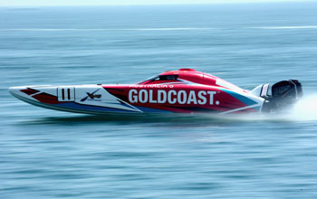 FUJAIRAH, UNITED ARAB EMIRATES - APRIL 07:  Tom Barry Cotter and Ross Willaton of Gold Coast Australia race for pole position during the Fujairah Grand Prix - the first round of the UIM XCAT World Series 2016 where 14 boats are competing. XCAT, short for extreme catamaran, is one of the most challenging and extreme forms of powerboat racing in the world at the Fujairah International Marine Sports Club on April 7, 2016 in Fujairah, United Arab Emirates.  (Photo by Warren Little/Getty Images for XCAT )