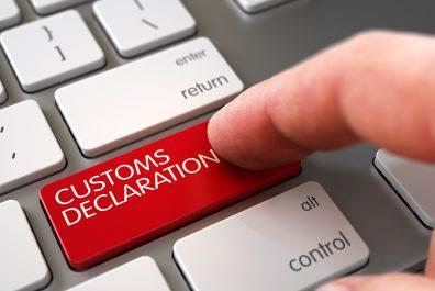 Hand Finger Press Customs Declaration Keypad. 3D.