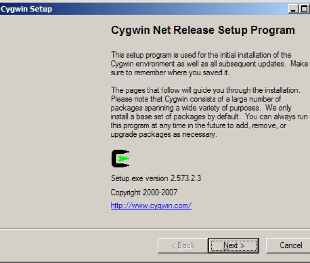 Run The Cygwin Setup Program And You Will See The Welcome Screen