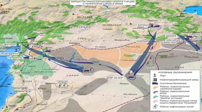 Map issued by Russian military showing ISIS oil sales routes from Iraq to Turkey