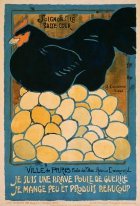"""Cartaz francês sobre a """"boa galinha"""", que come pouco e produz muito"""
