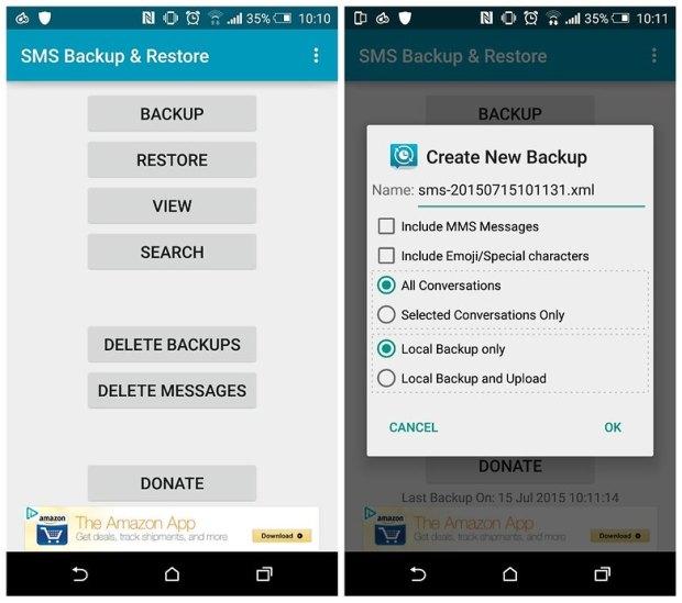 SMS Backup & Restore là sạch sẽ và đơn giản để sử dụng